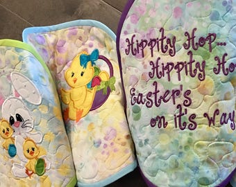 Quilted EASTER EGG Table Runner . . . Hippity Hop Easter's on  it's Way . . .  Applique Bunnies . . . EGG Shape Table Quilt