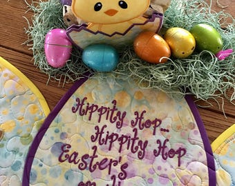 Quilted EASTER EGG Table Runner . . . Hippity Hop Eastet'son it's Way . . .  Applique Bunnies . . . EGG Shape Table Quilt