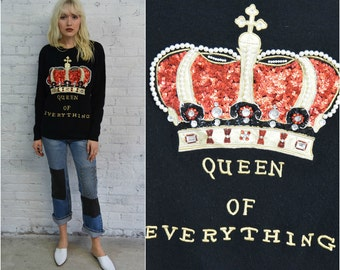 vintage black lambswool angora beaded sweater / slouchy oversize sweater / regal crown royalty queen