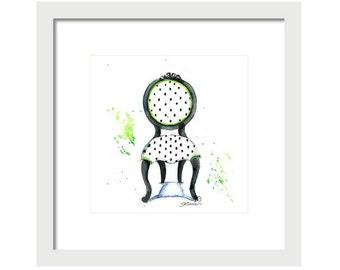Watercolor Green Chair Art Print-Chair Painting-Chair Wall Decor-Home Decor-Girls Room-Giclee Print