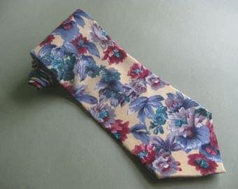 Vintage Pierre Cardin Floral 100% Silk Tie