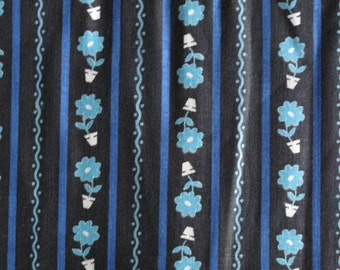 Vintage 1950s Cotton Fabric - Potted Flowers - Blue Black