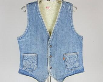 Vintage 1970s Mens Levis Denim and Fleece Vest, Sz Large