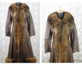 Vintage 1970s Boho Russian Princess Leather, Fur Trim, Full Length Coat
