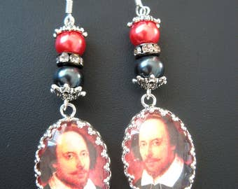 Shakespeare jewelry, shakespeare earrings, author jewelry, author earrings, literary jewelry, literary earrings, literature, black jewelry