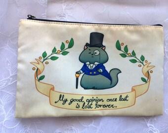 Dapper Regency Cat Zippered Bag Pouch