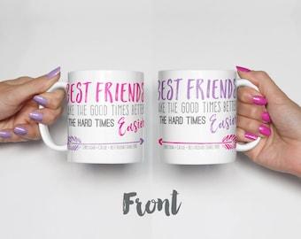 Bestie Gifts, BFF Gift Mug Set, Long Distance Friendship Gift, Best Friend Christmas Gift / H-U03-MG AA0