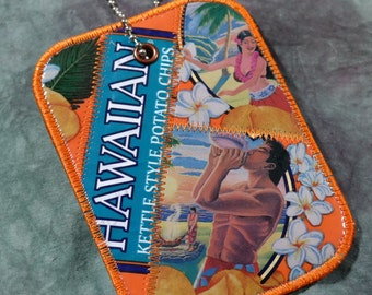 Luggage Tag from Recycled Hawaiian Luau BBQ Chip Bags