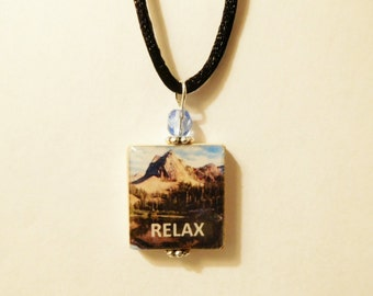 RELAX Pendant / Mindfulness - Yoga - Zen - Meditation / Scrabble Jewelry / Necklace with Satin Cord / Charm / Beaded
