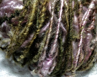 RESERVED--Handspun Soft Curly Leicester Longwool Wool Art Yarn in Silver Pink and Golden Brown by KnoxFarmFiber for Knit Crochet Weave