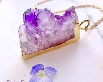 Raw Amethyst slice necklace, Geode, Druzy, Rock formation, February birthstone, Purple amethyst pendant, crystal necklace, Otis B Jewelry