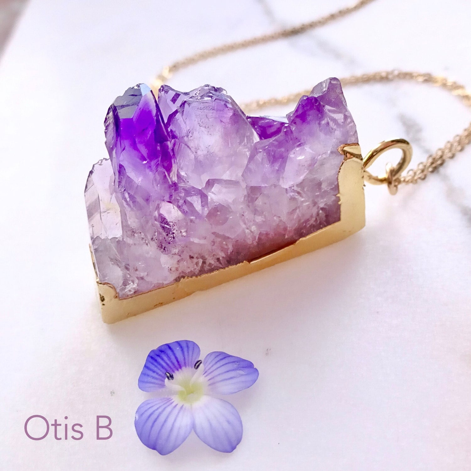 Raw Amethyst slice necklace, Geode, Druzy, Rock formation, February birthstone, Purple amethyst pendant, crystal necklace, Otis B Jewelry