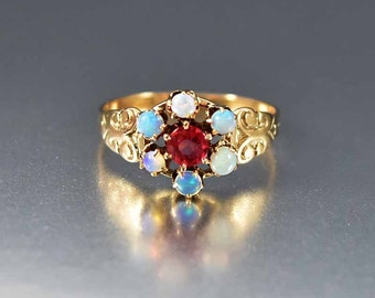 SOLD Victorian Red Spinel Opal Ring, Opal Engagement Ring, Gold Antique Engagement Ring, Alternative Wedding Ring, Victorian Ring