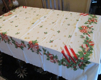 """Excellent Vintage Christmas Tablecloth, 66"""" x 58"""",No Flaws, Candles, Bows, Bells, Gold Snowflakes"""