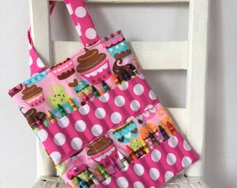 Cupcakes Crayon Bag Girls Birthday Gift Coloring Tote Ready to Ship Pink Polka Dot Coloring Tote Pink Crayon Roll