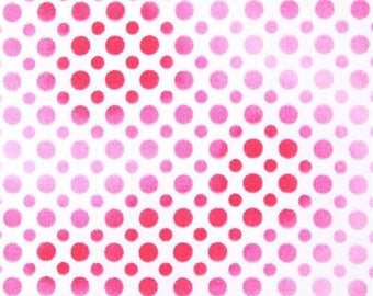213853 white fabric cute pink light pink and dark pink dot Quilting Treasures