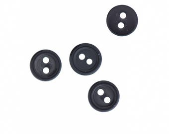 Buttons , 2 hole , 10mm black 24 pcs  per package , PP01