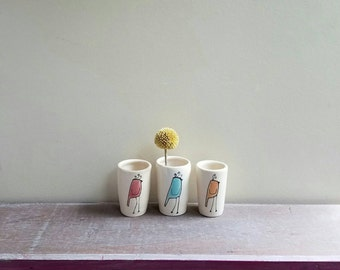 Mini bird vase, set of three, small blue, orange and pink bird vases.
