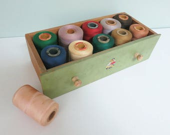 11 Large Spools of Vintage Thread, Lot for Sewing or Craft Room Display