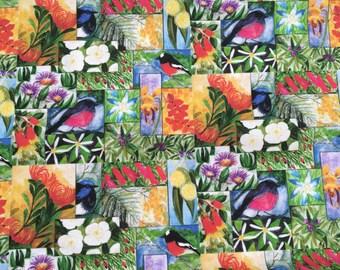 Tasmanian wild flowers and birds cotton fabric by Cindy Watkins