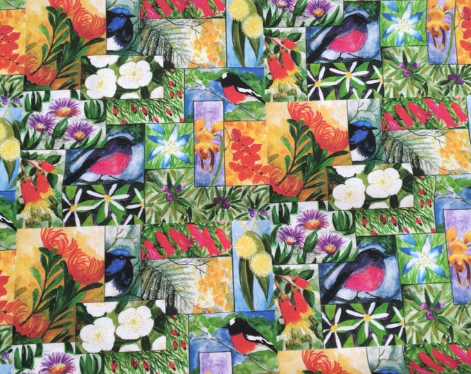 Tasmanian wild flowers and birds cotton fabric by Cindy Watkins