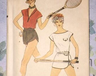 Vogue 7363 Tennis Vintage 1980s Sewing Pattern Size 10