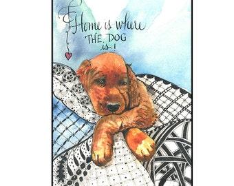 Unique Watercolor Irish Setter Puppy Greeting Card