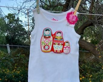 SALE! MATRYOSHKA Nesting Dolls Baby GIRL Tank Top Size 2T Ready-to-Ship
