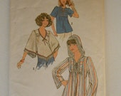 Vintage 70s Boho Top with Hood Pattern Simplicity 7811 Size 14 Bust 36