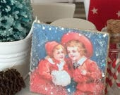 Sale Vintage Children in Red and White Christmas picture-dollhouse miniature