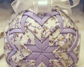 Handmade Christmas Quilted Ornament - Lavendar Flowers
