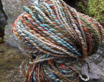 Handspun yarn, handpainted 2 ply orange teal brown wool yarn, handmade yarn worsted -Mrs. Fox