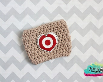 Custom Crochet Coffee cup cozy { Target Love } Choose from 30 solid colors khaki, target addict cup sleeve, starbucks ceramic plastic cups