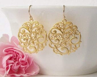 Paisley Swirl Earrings, Bridesmaid Jewelry Gift