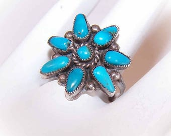 NATIVE AMERICAN, Vintage Sterling Ring, Vintage Silver Ring, Sterling Silver, Turquoise Nugget, Turquoise Ring, Silver Turquoise Ring