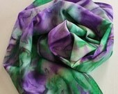 Silk Infinity Scarf - Hand Painted Circle Scarves Green Purple Garden Kelly Violet Eggplant Grape Hand Dyed