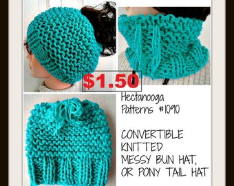 Hat KNITTING PATTERN, Messy Bun Hat, Pony Tail Hat, Cowl, Convertible garment, Beginner level, Age 5 to adult, #1090, FREE crochet pattern