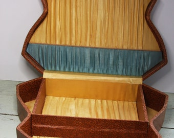 Antique SEWING BOX with Pleated Satin Lining- Vintage Storage Box- Jewelry Box- Keepsake Box
