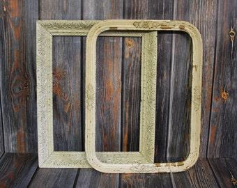 Vintage FRAMES (2) White Chippy Paint Vintage Frame- Rectangular Shaped Antique Wooden Frame- Farmhouse Decor