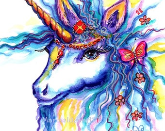 Unicorn print, Unicorn art, kids room art, fantasy art, bedroom wall art