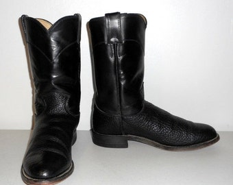 Mens 7 D Cowboy Boots Black Ropers Justin Casual Western Classic Rockabilly Womens 8.5