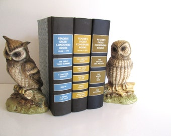 Vintage Pair Owl Bookends Mid Century Ceramic Bookends/Figurines Made in Japan