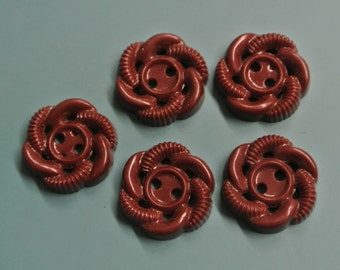 Lot of 10 small vintage 1950s unused brown ornament plastic buttons for your sewing prodjects