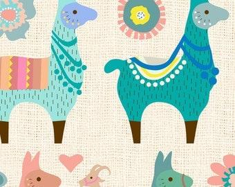 Llama Fabric - Llama Fun By Mariafaithgarcia - Alpaca Llama Modern Nursery Decor Cotton Fabric By The Yard With Spoonflower
