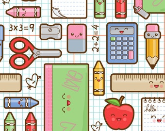 School Supplies Fabric - Back To School By Woodmousebobbit - School Cotton Fabric By The Yard With Spoonflower