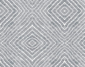 Lines Geometric Fabric - Lines 1 By Monokeemono - Lines Diamond Doodle Abstract Black and White Cotton Fabric By The Yard With Spoonflower