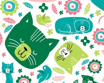 Retro Kittens Fabric - Kittens By Laurawrightstudio - Cute Retro Mod Kittens Pink Blue Green Cotton Fabric By The Yard With Spoonflower