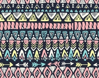 Tribal Fabric - Tribal 1 By Laura May Designs - Geometric Modern Home Decor Tribal Cotton Fabric By The Yard With Spoonflower
