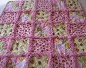 Strawberry Shortcake Rag Blanket Baby Girl Shower Gift Crib Rag Blanket Stroller Rag Blanket Rag Quilt Blanket 35x35