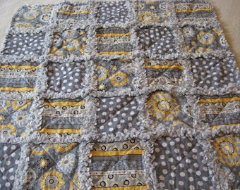 Yellow Gray White Flowers Dots Stripes Baby Girl Rag Quilt Blanket 35x35